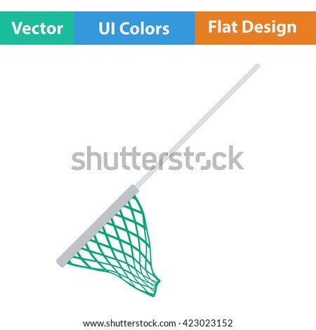 Flat design icon of Fishing net  in ui colors. Vector illustration.  - stock vector