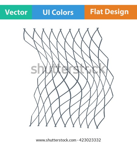 Flat design icon of Fishing net  in ui colors. Vector illustration.