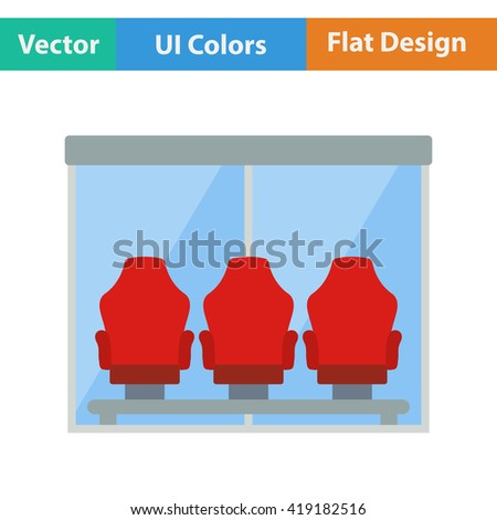 Flat design icon of football player's bench in ui colors. Vector illustration. - stock vector