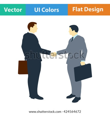 Flat design icon of Meeting businessmen in ui colors. Vector illustration.
