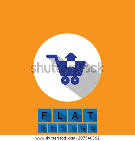 flat design icon of removing items shopping cart - vector graphic. This graphic can also represent purchase of items on internet, virtual shopping