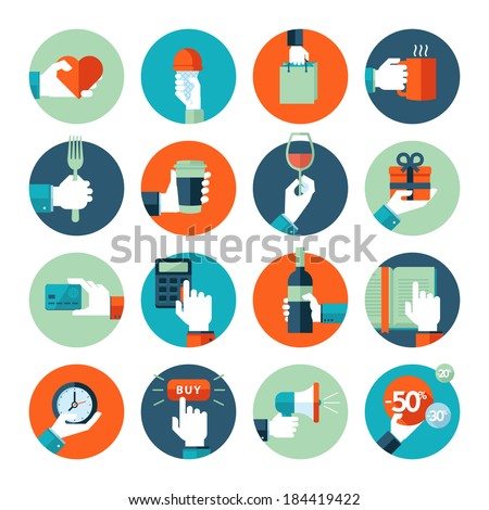 Flat design icons collection of hand using a variety of products - stock vector