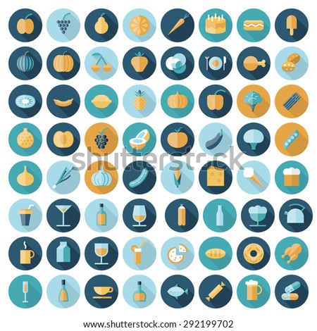 Flat design icons for food and drinks. Vector eps10 with transparency. - stock vector