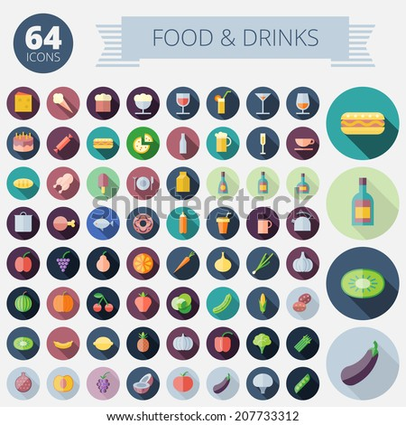 Flat Design Icons For Food, Drinks, Fruits and Vegetables. Vector eps10. Easy to recolor. Transparent shadows and relief in separate layers. - stock vector