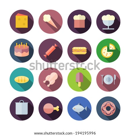 Flat Design Icons For Food. Vector illustration eps10, transparent shadows. - stock vector