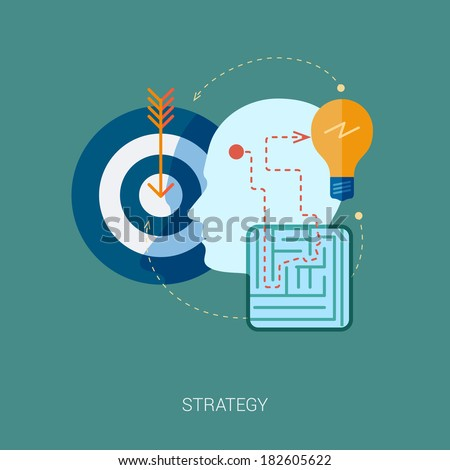 Flat design icons for internet advertising web development, internet marketing strategy, consulting and graphic design. Concept icons for web & mobile services vector illustration. Human head profile. - stock vector