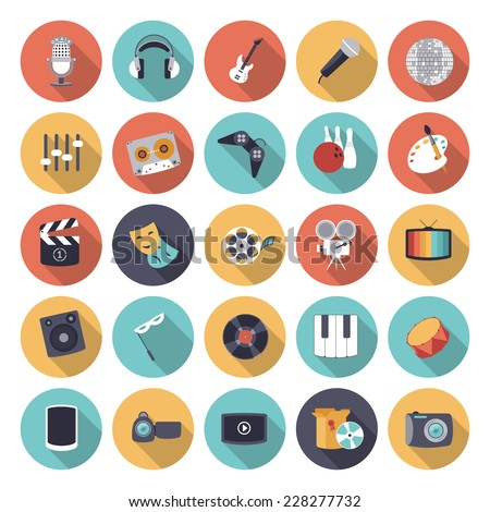 Flat design icons for leisure and entertainment. Vector eps10 with transparency. - stock vector