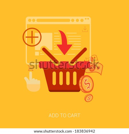 Flat design icons for online shopping. Add to basket, bag or cart e-commerce vector illustration concept. - stock vector