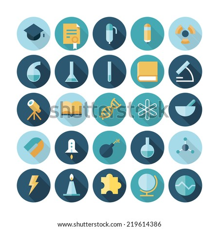 Flat design icons for science and education. Vector eps10 with transparency. - stock vector