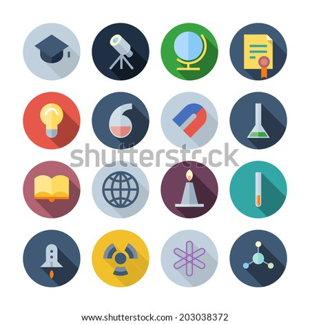 Flat Design Icons For Science and Education. Vector illustration eps10, transparent shadows. - stock vector