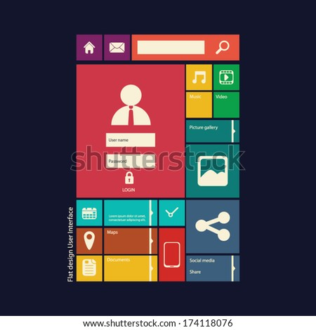 Flat design icons layout vector illustration suitable for web design or smartphone/tablet graphic user interface. Eps10 vector illustration - stock vector