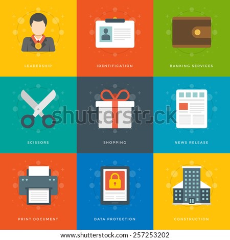 Flat design icons, Money Purse, Scissors, User Profile, Leader, Security, Printer, Gift Box, Skyscraper Building. Vector business symbols for website and promotion banners.  - stock vector