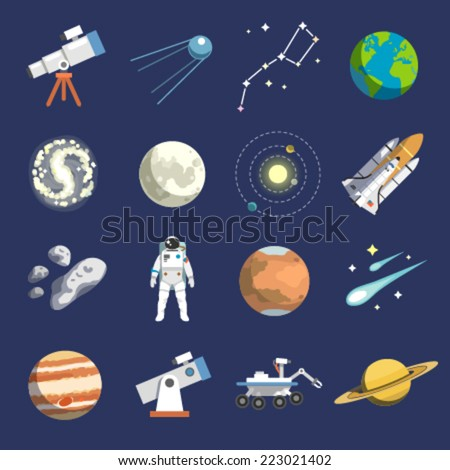 Flat design icons of astronomy. Vector icons. #2 - stock vector