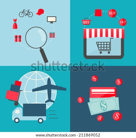 Flat design icons set for online shopping. Icons for e-commerce,  internet shop, add to bag, payment methods, delivery. Vector illustration - stock vector