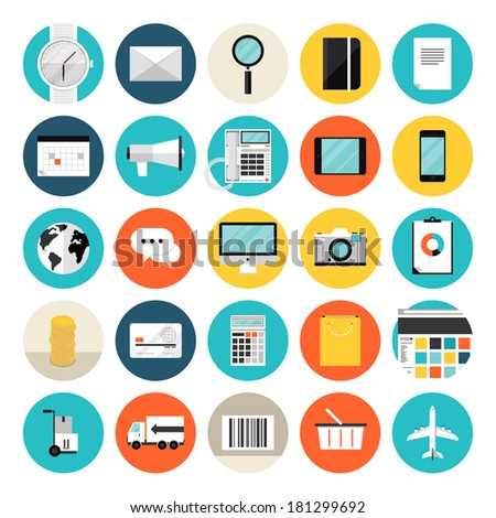 Flat design icons set modern style vector illustration concept of e-commerce and shopping objects, finance and marketing items, product delivery and logistics. Isolated on white background.   - stock vector
