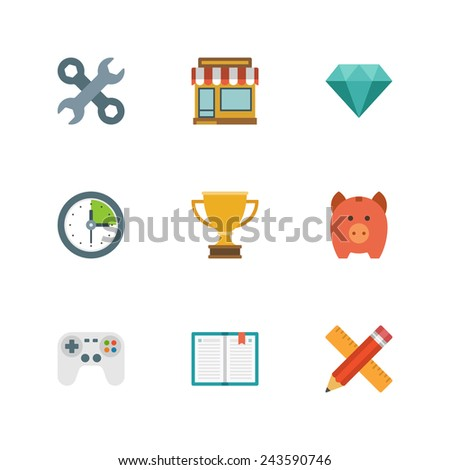 Flat design icons, Tools, Online Shop, Diamond, Clock, Trophy Cup, Piggy Money Box, Game Controller, Book, Pencil and Ruler. Vector business symbols for website and promotion banners.  - stock vector
