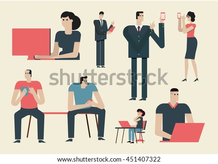 Flat design illustration business people use mobile phone to communicate. Communications Social Media. - stock vector
