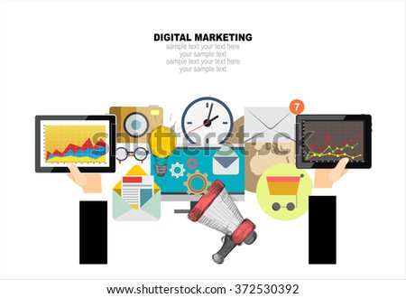 Flat design illustration concept for digital marketing. Concept for web banner and promotional material. - stock vector
