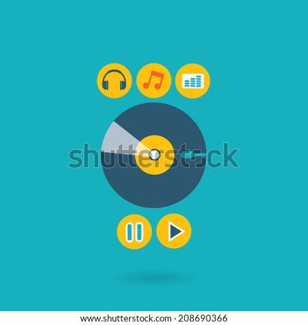 Flat design illustration concept for listening to music - stock vector