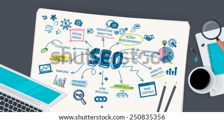 Flat design illustration concept for SEO. Concept for web banner and promotional material. - stock vector