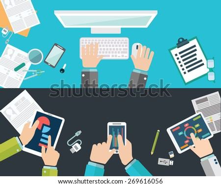 Flat design illustration concepts for business analysis and planning, consulting, team work, project management, brainstorming, research and development. Concepts web banner and printed materials. - stock vector