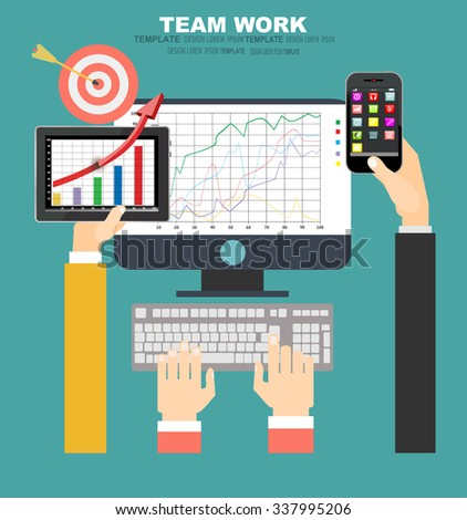 Flat design illustration concepts for business analysis and planning, financial strategy, consulting, team work, project management and development. Concept to building successful business - stock vector