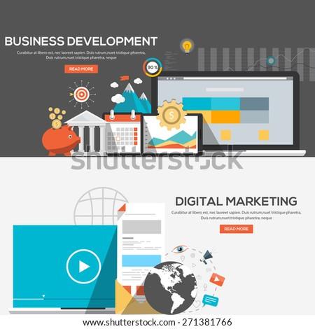 Flat design illustration concepts for Business development and Digital marketing. Vector - stock vector