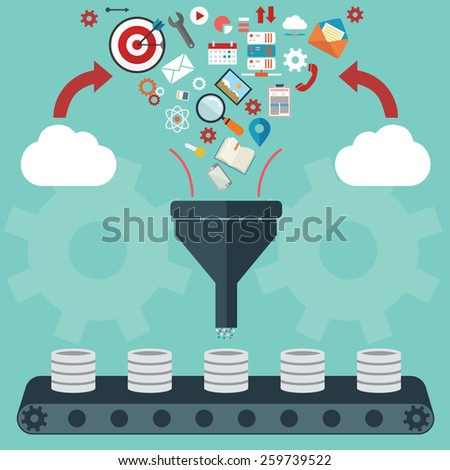 Flat design illustration concepts for creative process, big data filter, data tunnel, analysis concept - stock vector