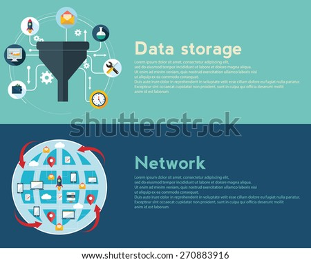 Flat design illustration concepts for creative process, big data filter, network, data tunnel, analysis concept, web banner - stock vector