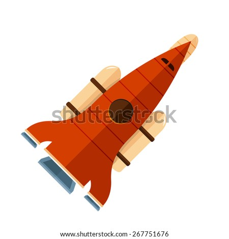 Flat design illustration concepts for web design development, logo design, graphic design, design agency. Rocket that fly in universe.