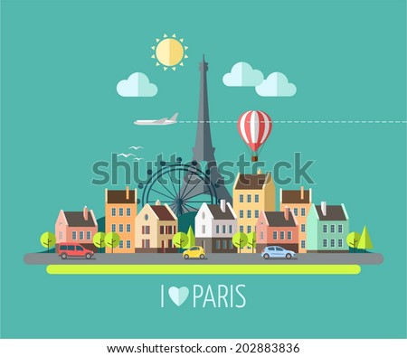 Flat design illustration - Eiffel tower in Paris, France - stock vector
