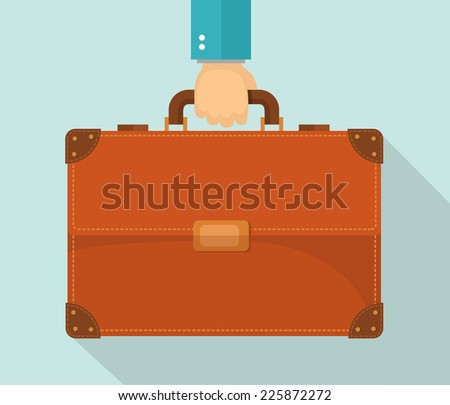 Flat design illustration. Hand carrying briefcase. Eps10 - stock vector