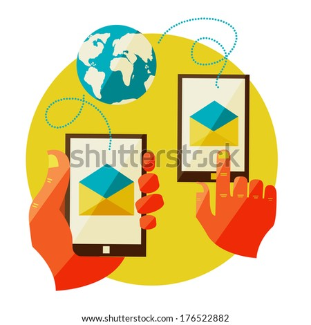 Flat design illustration in  modern stylish concept for communication icons, mobile apps of hand touch screen, vector. Mail, message, contract. - stock vector