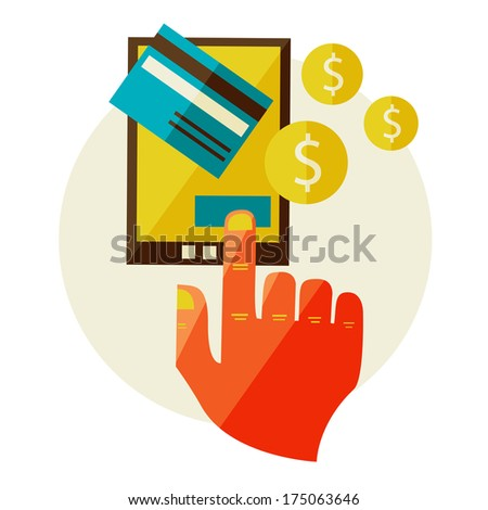 Flat design illustration in  modern stylish processing of mobile payments concept of hand touch screen, vector. Online purchase on digital tablet. - stock vector