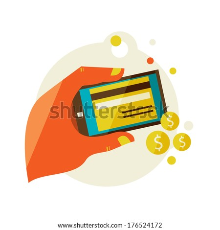 Flat design illustration in  modern stylish processing of mobile payments concept of hand touch screen. processing of mobile payments. - stock vector