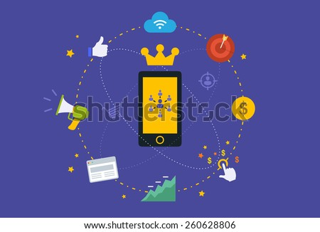 Flat design Illustration: Mobile marketing  - stock vector