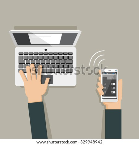 Flat design illustration of hands using laptop and holding smartphone - stock vector