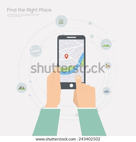 Flat design illustration of navigation application. - stock vector