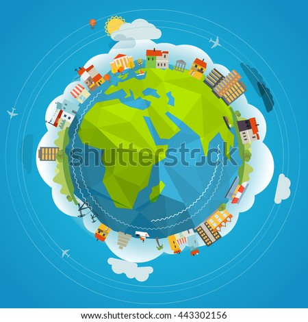 Flat design illustration of the Earth