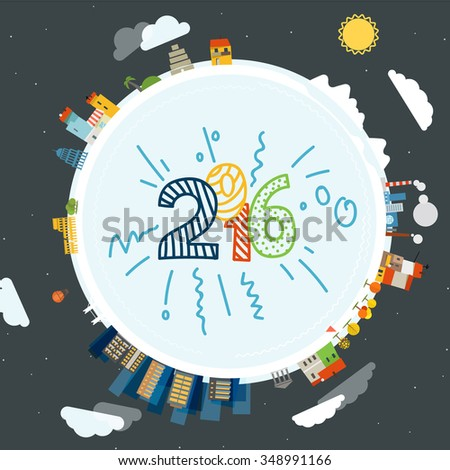 Flat design illustration of the Earth with buildings. Happy new 2016! - stock vector