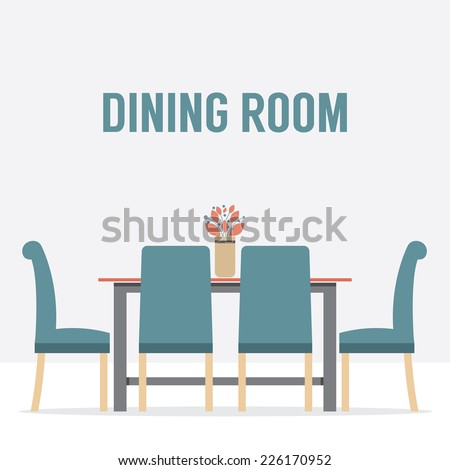 Flat Design Interior Dining Room Vector Illustration - stock vector