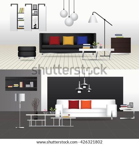 Flat Design Interior Living Room and Interior Furniture Vector Illustration - stock vector