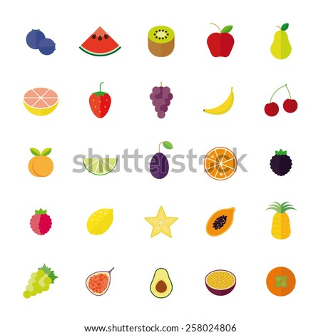 Flat Design Isolated Fruit Vector Icon Set. Collection of 25 flat design fruit icons isolated on white background. - stock vector