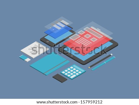 Flat design isometric vector illustration concept of mobile web design and user interface development on modern devices. Isolated on dark blue background  - stock vector