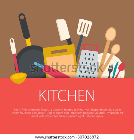 Flat design kitchen concept. Kitchen equipment background. Vector illustration. - stock vector
