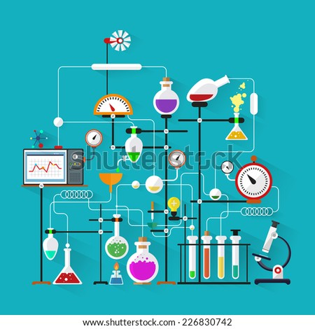Flat design. Laboratory workspace and workplace concept.Chemistry, physics, biology.Modern vector illustration. - stock vector