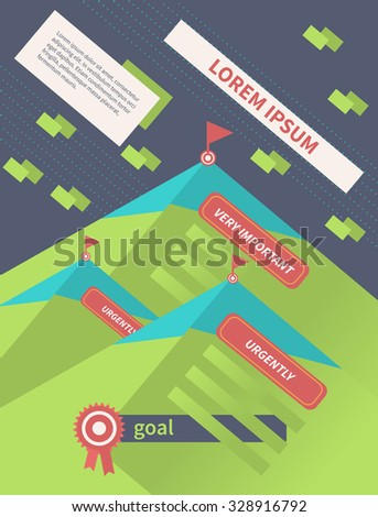 Flat design letterheads and banners. To achieve the goal; competition and success. Vector illustration - stock vector