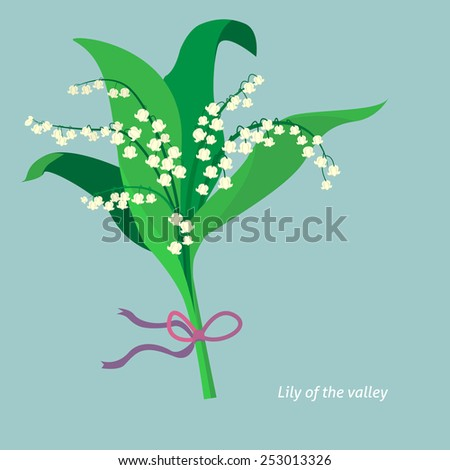 Flat design. Lily of the valley. Vector illustration - stock vector