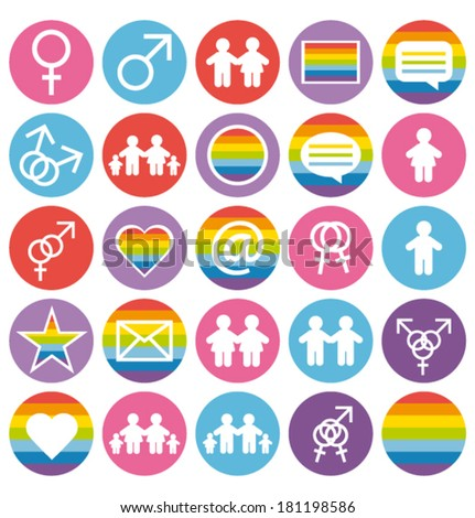 Flat design. Love, family and gays icons. Vector set. - stock vector