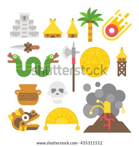 Flat design mayan items set illustration vector - stock vector